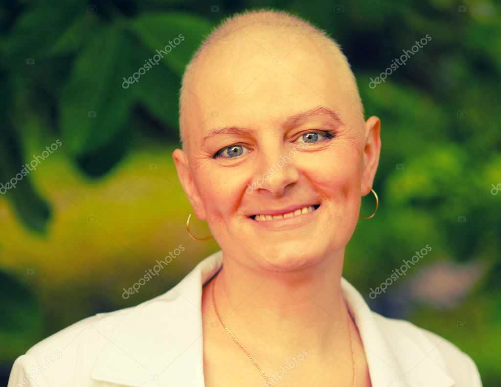 Bald woman - cancer survivor