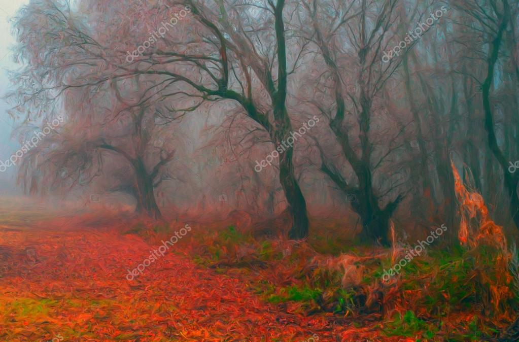 Landscape painting - creepy forest on foggy day