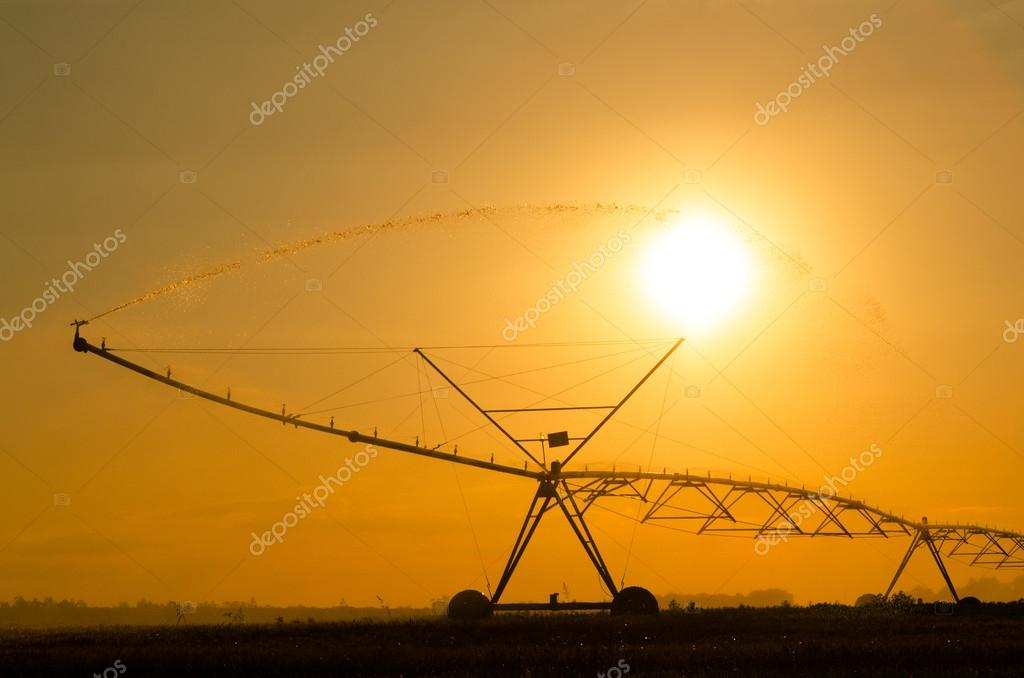 Agricultural irrigation system on the wheat field