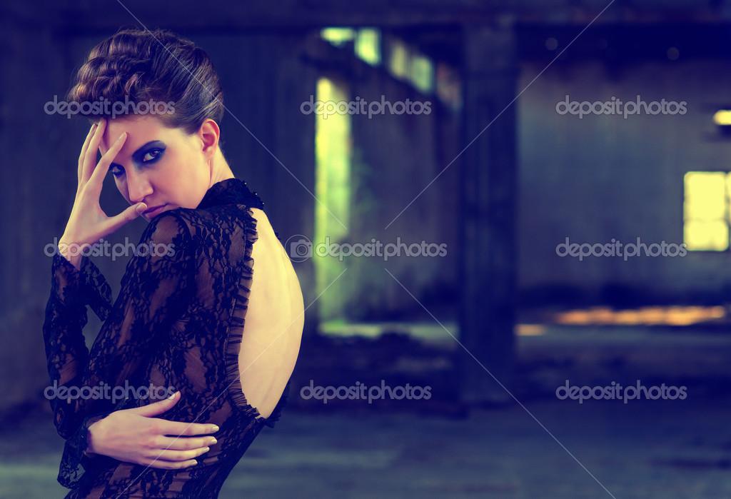 Beautiful Fashion Model In Abandoned Building Stock Photo C Solidphotos 49037783
