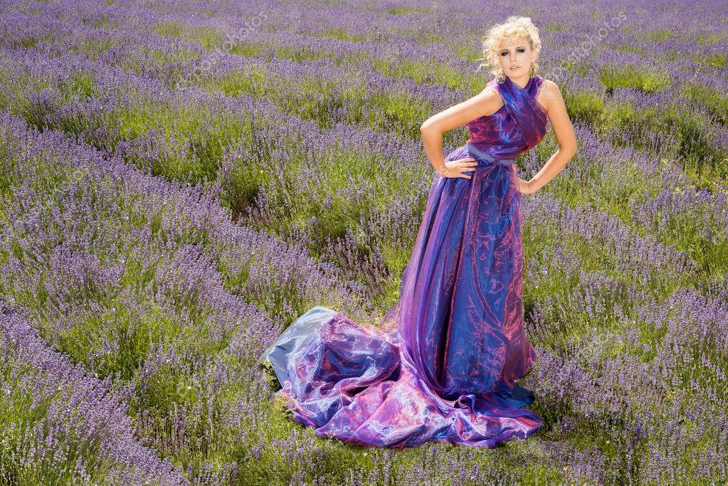 fashion model in lavender fields stock photo eleaner 29304391. Black Bedroom Furniture Sets. Home Design Ideas