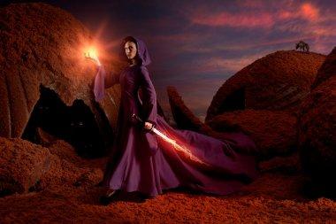 Beautiful sorceress in chocolate landscape