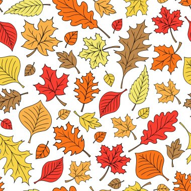 Fall Foliage Autumn Leaf Doodles Seamless Repeat Pattern Vector
