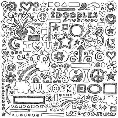 Sketchy Notebook Doodles Set of Hand-Drawn Design Elements with Flowers, Shapes, Hearts, Stars, Arrows and More- Vector Illustration on Lined Sketchbook Paper Background stock vector