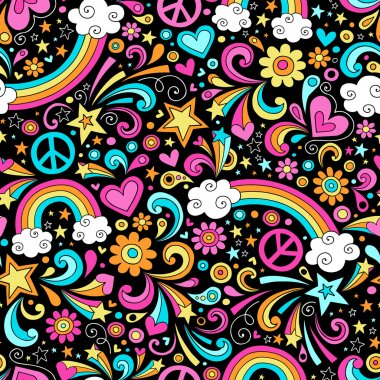 Back to School Notebook Doodles Rainbow Seamless Pattern
