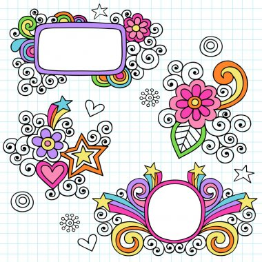 Groovy Picture Frames Psychedelic Doodles Vector Design
