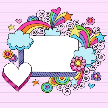 Rectangle Picture Frame Groovy Psychedelic Doodles Vector Design