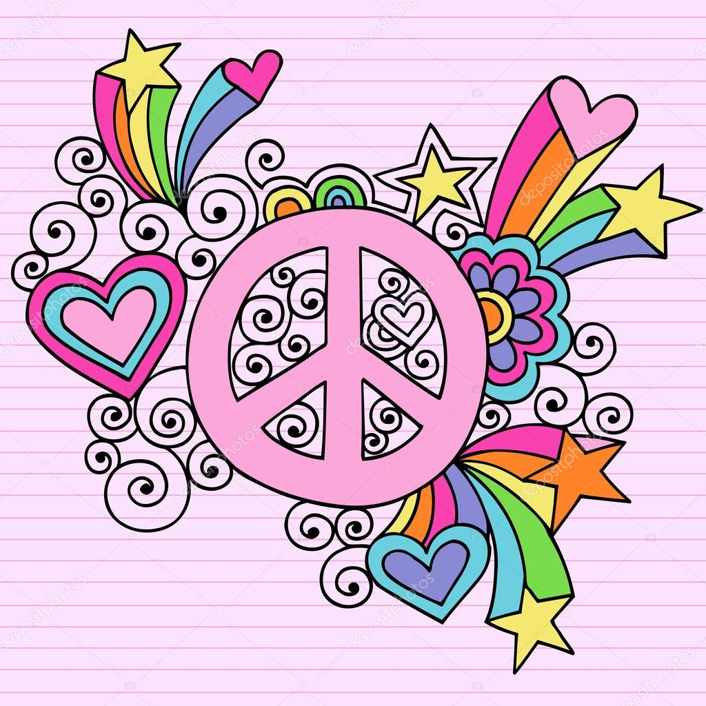 Peace Sign Flower Power Groovy Psychedelic Doodles Vector