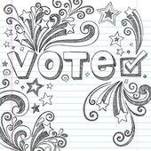 Ivote választási vázlatos Doodle vissza a iskola Vector Design