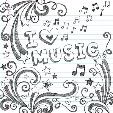 I Love Music Sketchy Doodle Back to School Vector Design