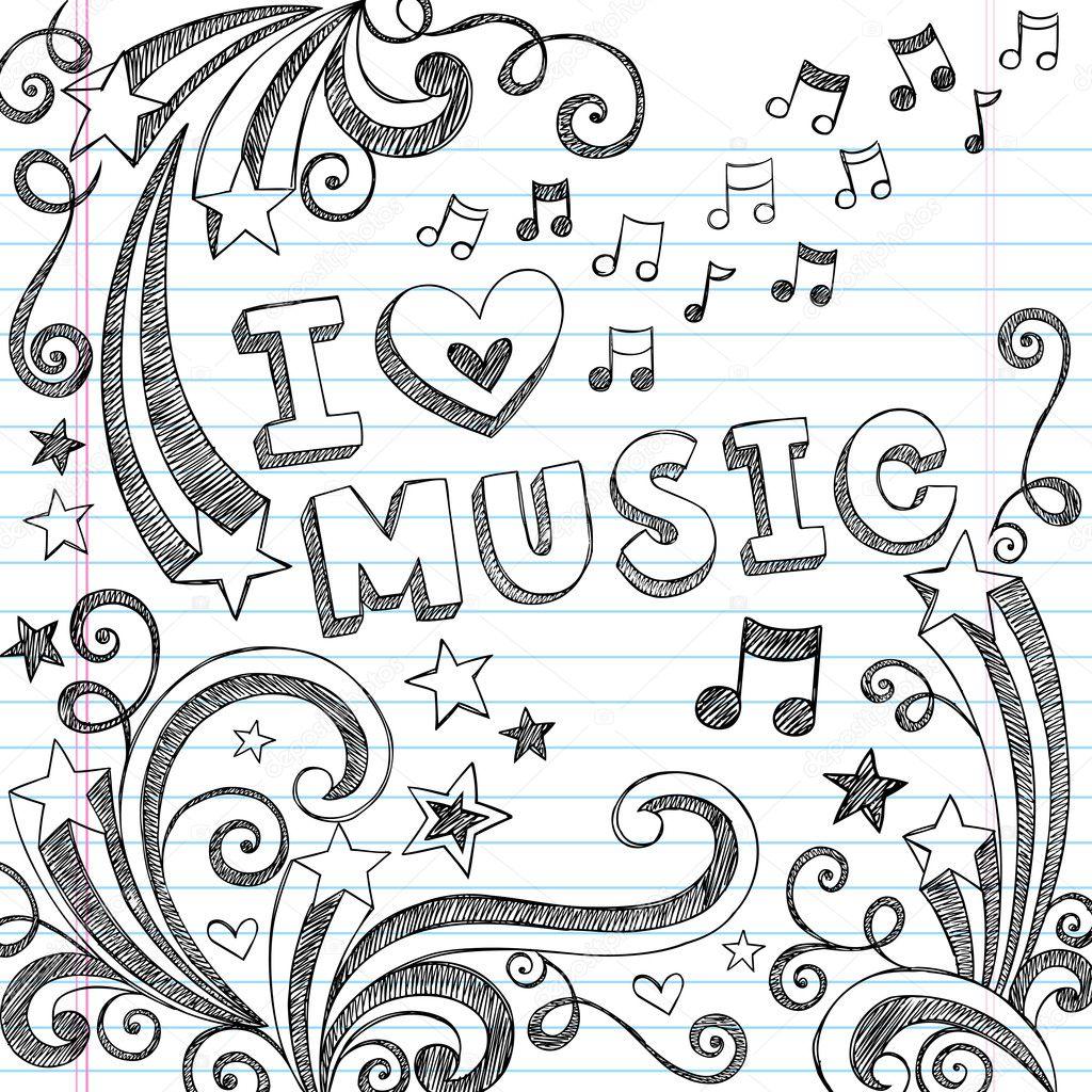 I Love Music Sketchy Doodle Back to School Vector Design