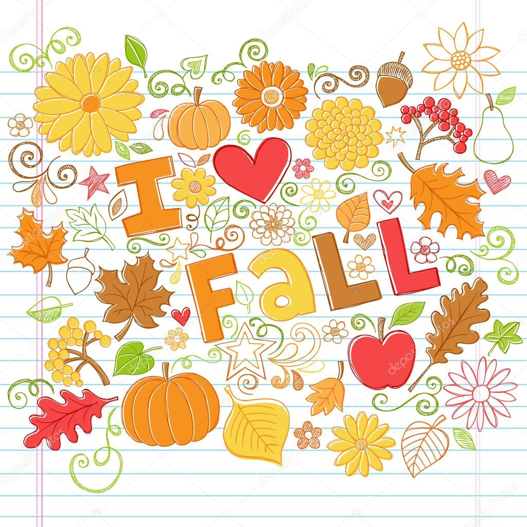I Love Fall Autumn Foliage Leaf and Pumpkin Doodles Vector