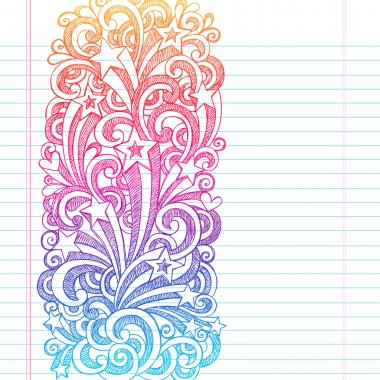 Back to School Sketchy Notebook Doodles Page Edge Border Design Shooting Stars and Swirls