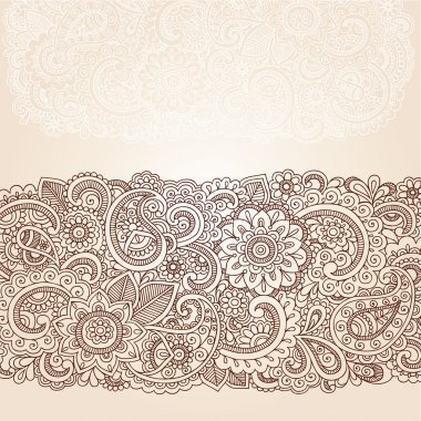 Henna Mehndi Doodles Abstract Floral Paisley Design Elements