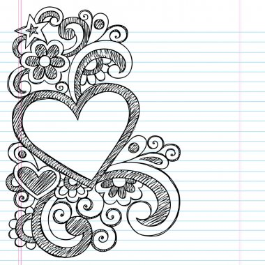 Heart Frame Border Back to School Sketchy Notebook Doodles