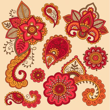 Henna Doodle Mehndi Tattoo Colorful Vector Design Elements