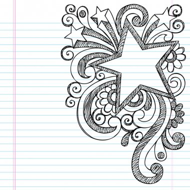 Star Frame Border Back to School Sketchy Notebook Doodles