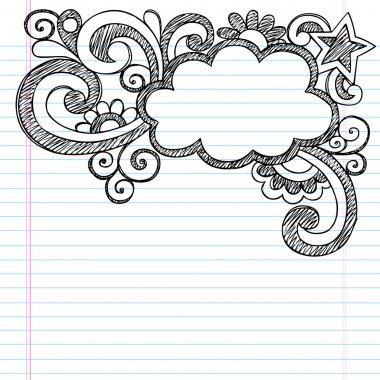 Cloud Frame Border Back to School Sketchy Notebook Doodles