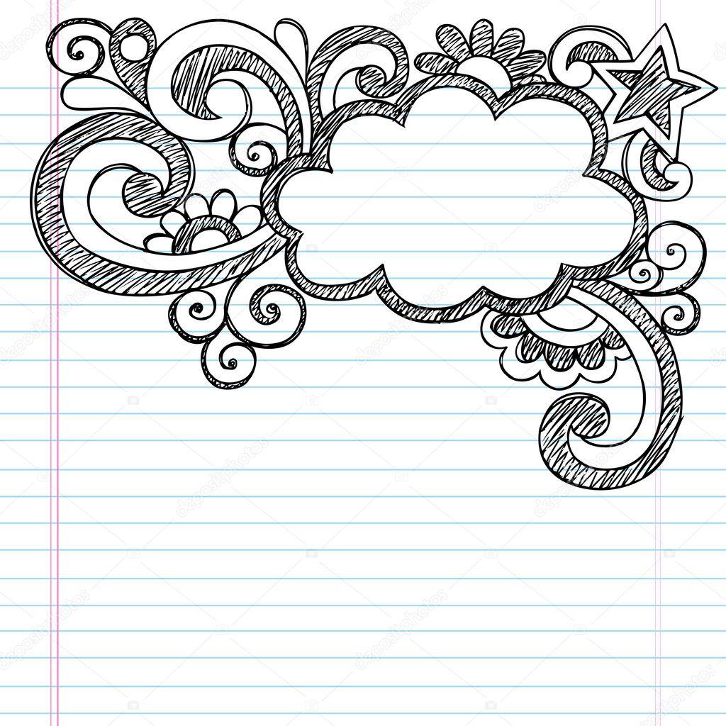 cloud frame border back to school sketchy notebook doodles stock illustration