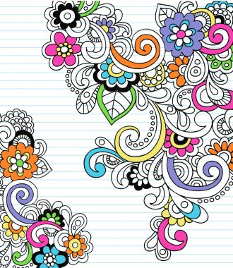 Hand-Drawn Psychedelic Paisley Notebook Doodles