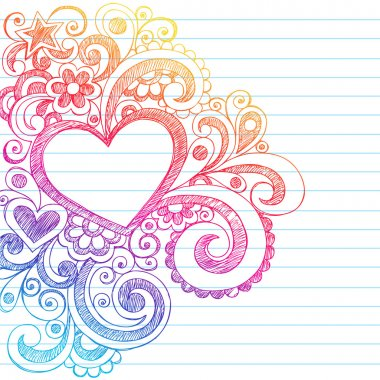 Hand-Drawn Abstract Heart Sketchy Doodles