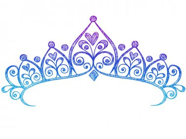 Hand-Drawn Sketchy Royalty Princess Tiara Crown Notebook Doodles