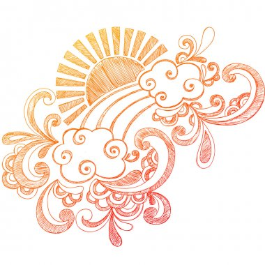 Hand-Drawn Summer Hibiscus Flower, Waves, and Tropical Sun