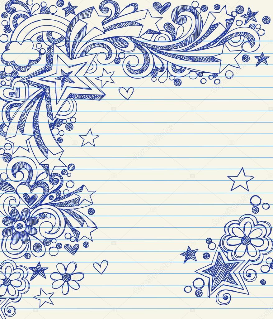 dibujado a mano vuelta starbursts escuela, remolinos, corazones y ...