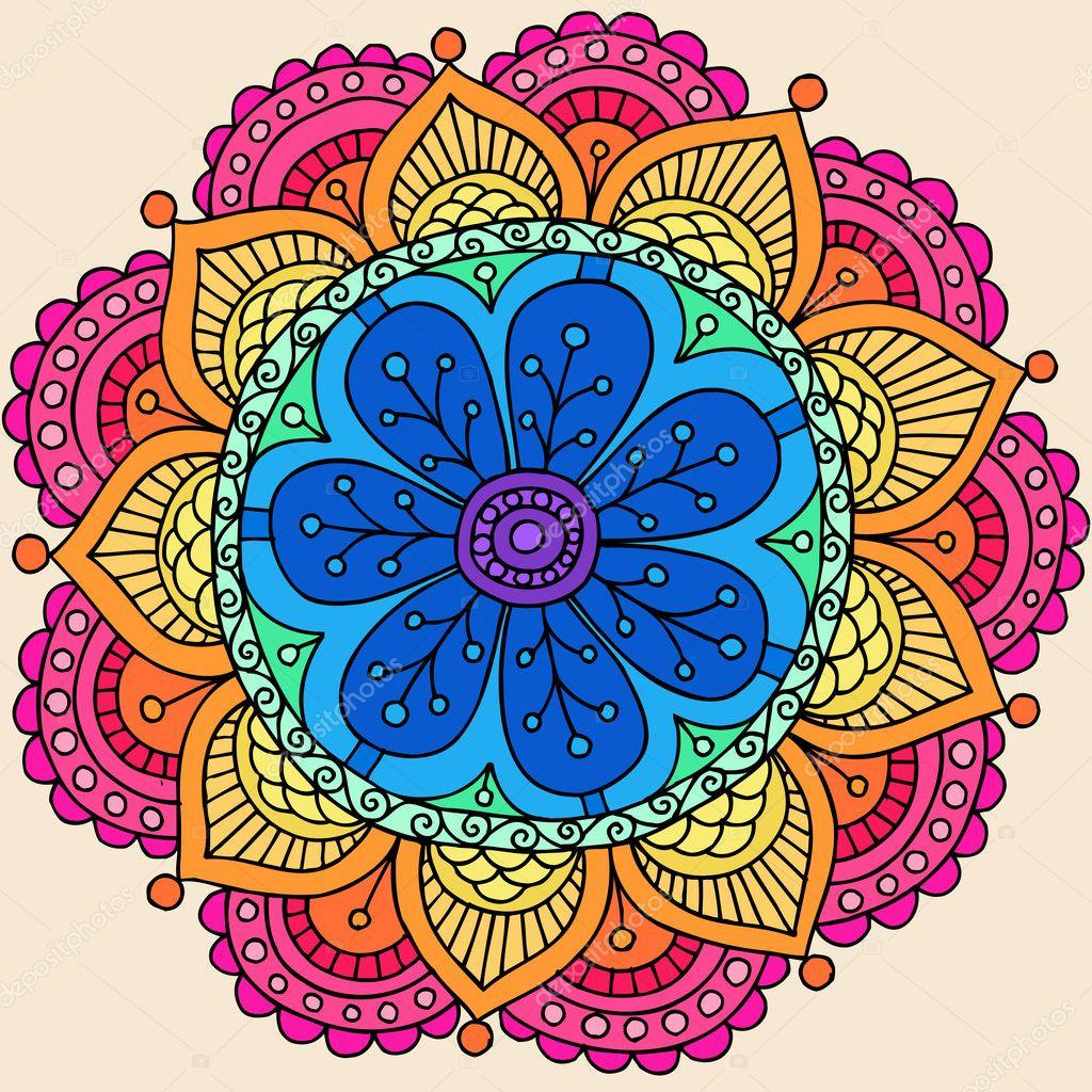 Groovy Psychedelic Rainbow Henna Mandala Flower Doodle