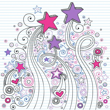 Shooting Stars and Swirls Psychedelic Back to School Sketchy Notebook Doodles- Illustration Design on Lined Sketchbook Paper Background stock vector