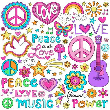 Peace Love and Music Flower Power Groovy Psychedelic Notebook Doodles Set with Peace Signs, Dove, Hearts, Acoustic Guitar and more stock vector