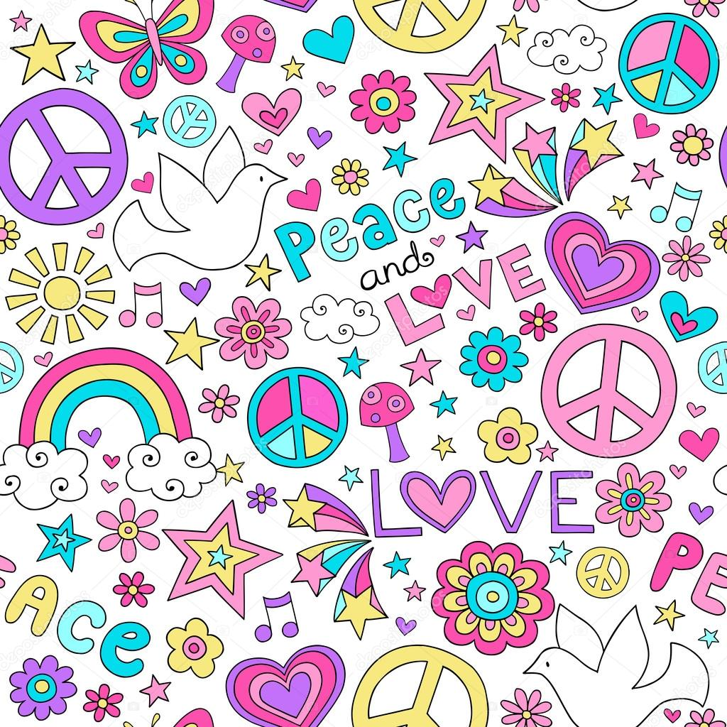 Peace and Love Doodles Seamless Repeat Pattern Design