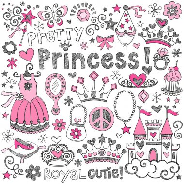 Princess Tiara Sketchy Notebook Doodles Vector Set