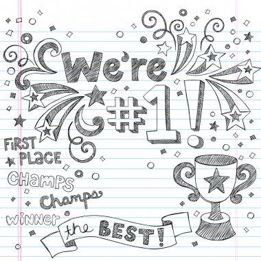 Winner Trophy First Place Sketchy Doodles Vector Illustration