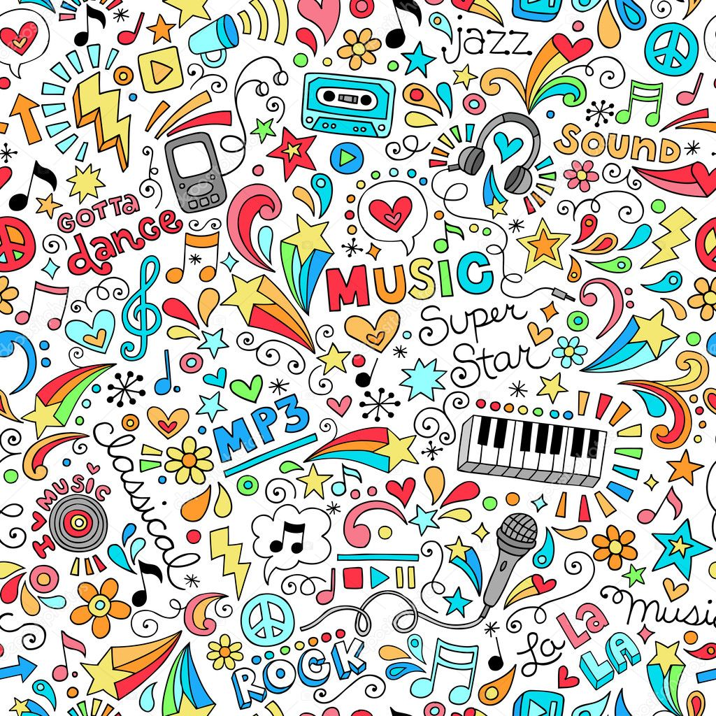 Music Notebook Doodles Seamless Pattern Vector Illustration