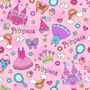 Princess Fairytale Seamless Pattern Notebook Doodles Vector Illustration with Tiara, Tutu, and Castle