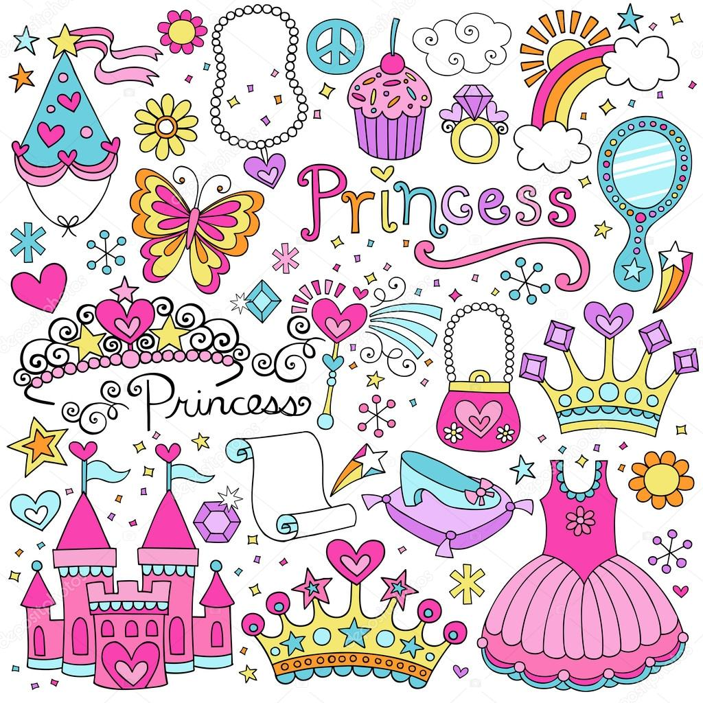 Princess Tiara Crown Notebook Doodles Design Elements Set- Illustration