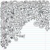hvězda student-plus inkoustově Klikyháky čmáranice zpátky do školy zápisník doodle vektorové ilustrace