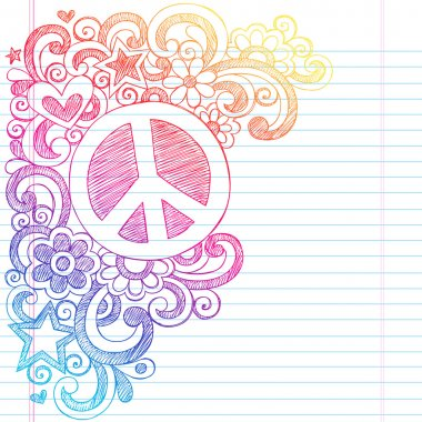 Peace Sign Sketchy Doodles Vector Illustration with Shooting Stars, hearts, and Flowers