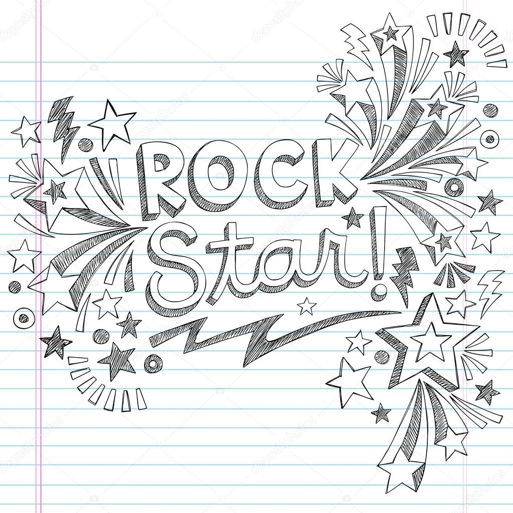 Rock Star Music Back to School Sketchy Notebook Doodles with Music Notes and Swirls- Hand-Drawn Vector Illustration Design Elements on Lined Sketchbook Paper Background