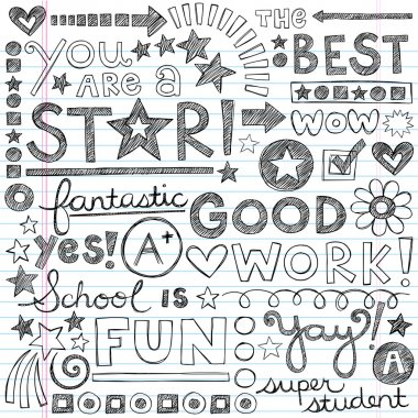 Great Work Super Praise Phrases Back to School Sketchy Notebook Doodles- Hand-Drawn Illustration Design Elements on Lined Sketchbook Paper Background