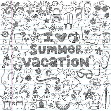 I Love Summer Vacation Hawaiian Tropical Hand-Drawn Sketchy Notebook Doodles- Vector Illustration