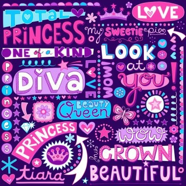 Princess Fairy Tale Diva Word Doodles Lettering Vector Illustration