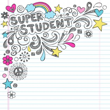 Super Student Education Back to School Rainbow Notebook Doodles Vector Illustration