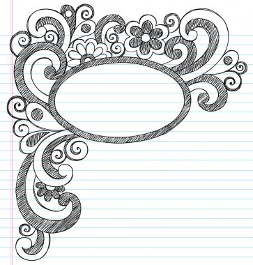 Oval Picture Frame Border Back to School Sketchy Notebook Doodles Vector Illustration