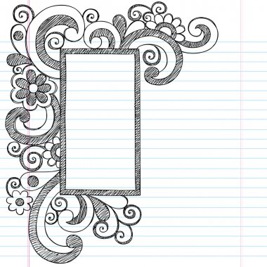 Rectangle Picture Frame Border Back to School Sketchy Notebook Doodles stock vector