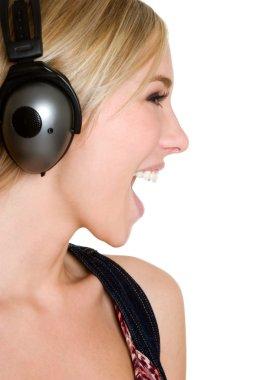 Young girl in headphones