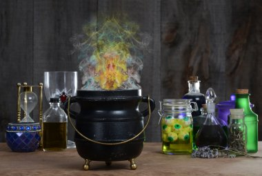 Witch cauldron with smoke