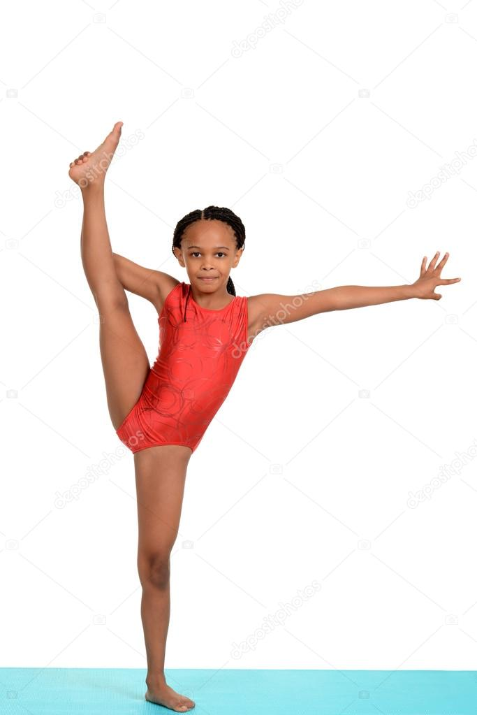 floor gymnastics splits. Black Child Doing Gymnastics Split \u2014 Stock Photo Floor Splits