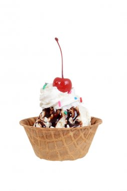 Isolated chocolate sundae with cherry